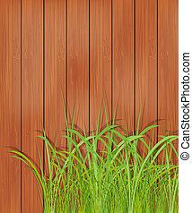bois, herbe, vert, barrière