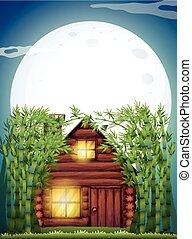 bois, hutte, scène, nuit