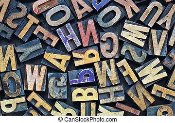 bois, impression bloque, letterpress, type