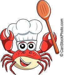 bois, isolé, chef cuistot, cuillère, crabe, vide, mascotte