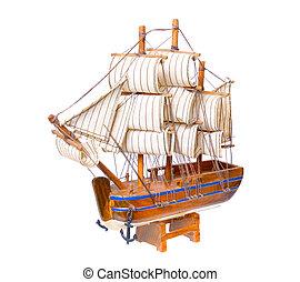 bois, isolé, souvenir, fond, petit, blanc, bateau
