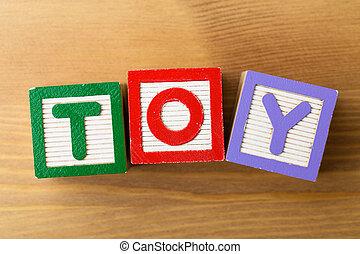 bois, jeu, jouet, bloc