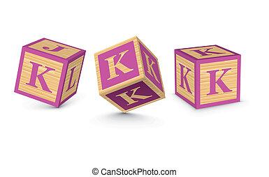 bois, k, vecteur, blocs, lettre