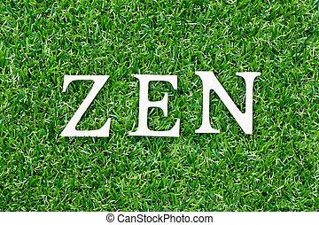bois, lettre, vert, zen, mot, herbe, fond
