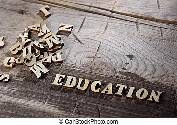 bois, lettres, fait, mot, education