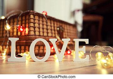 bois, lettres, mot, amour, fond