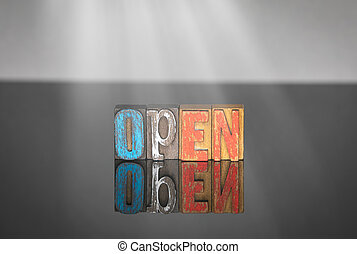 bois, lettres, mot, coloré, ouvert
