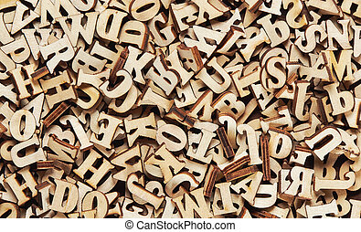 bois, lettres, tas, anglaise