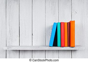 bois, livres, shelf.