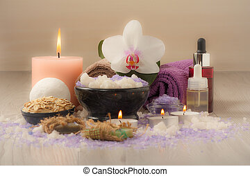 bois, lumière, accessoires, spa, table, composition