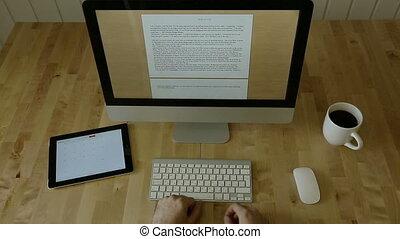 bois, lumière, bureau, laptop., dactylographie