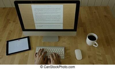 bois, lumière, ordinateur portable, dactylographie, mouvement, bureau
