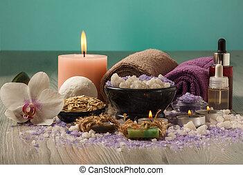 bois, lumière, traitement, spa, table, composition