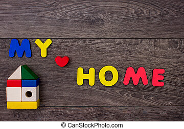 bois, maison, mot, lettres