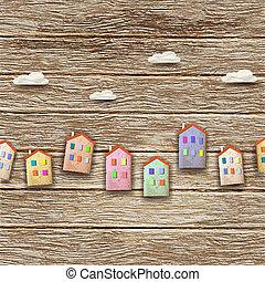 bois, maisons, coloré, fond