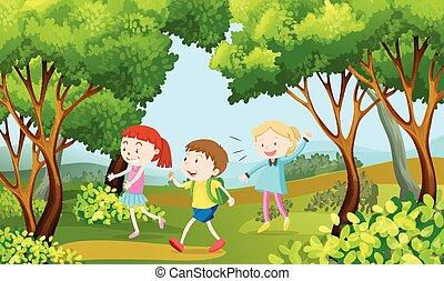 bois, marche, gosses, trois