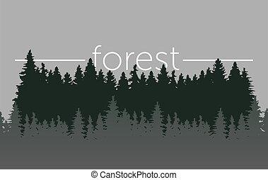 bois, matin, fog., conifère, rivière, vecteur, illustration, sauvage