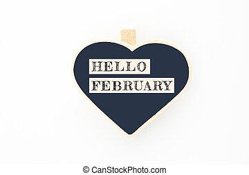 bois, message, février, conseils, concept, bonjour