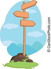 bois, montagne, guidepost, signe