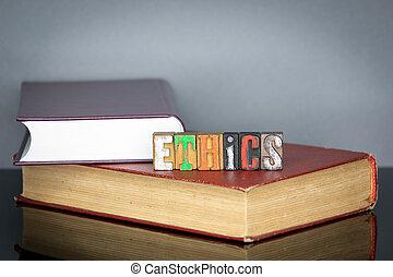 bois, mot, éthique, lettres, coloré