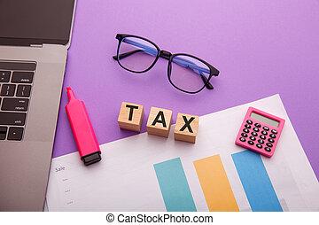 bois, mot, blocs, impôt