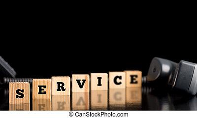 bois, mot, blocs, service