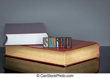 bois, mot, compétence, lettres, coloré