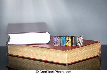 bois, mot, lettres, coloré, buts