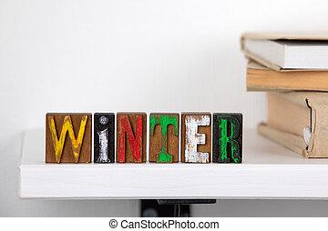 bois, mot, lettres, hiver, coloré