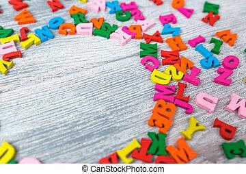 bois, multicolore, lettres