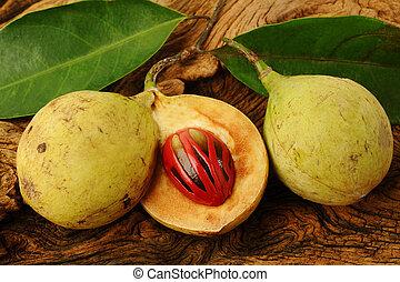 bois, muscade, fond, fruits