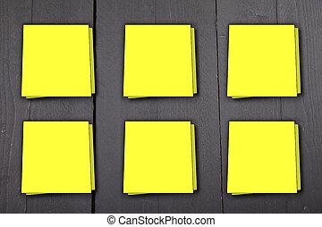 bois, note, six, jaune, sombre, arrière-plan noir, notes
