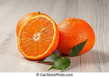 bois, orange, coupure, fond, moitié