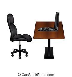 bois, ordinateur portable, workplace., bureau noir, chaise