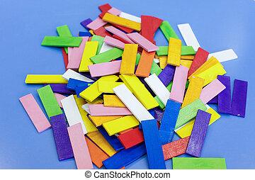 bois, pédagogique, fait maison, coloré, jouets