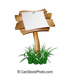 bois, papier, enseigne, vide, vide