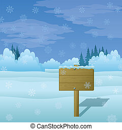 bois, paysage hiver, signe