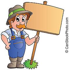 bois, paysan, planche, tenue, dessin animé