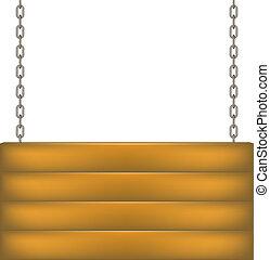 bois, pendre, planche, chaîne, signe
