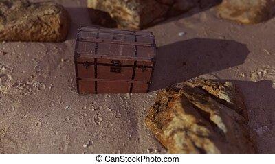 bois, plage, boîte trésor