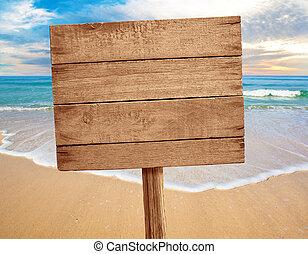 bois, plage, fond, signe