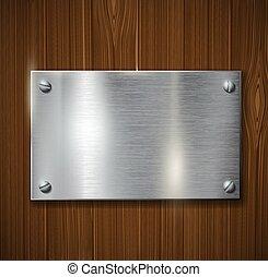 bois, plaque, métal, surface
