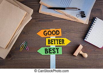 bois, poteau indicateur, concept., mieux, papier, bureau, bon, mieux