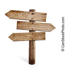 bois, poteau indicateur, isolé, signe, flèche, poste, ou, route