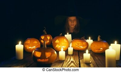 bois, potirons, halloween, planches