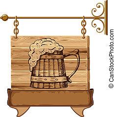 bois, pub, signe