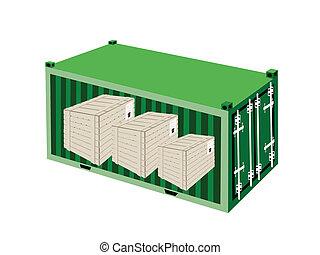 bois, récipient cargaison, trois, caisses