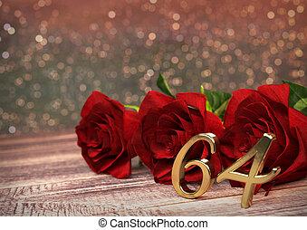 bois, roses, 64th., anniversaire, desk., sixty-fourth, render, concept, rouges, 3d