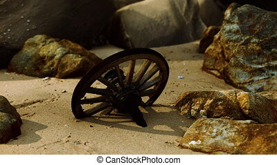 bois, roue, plage sable, charrette, vieux