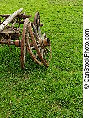 bois, roue, spokes, vieux